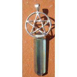 Pentagramme en argent Etoile de David avec pointe en aqua aura