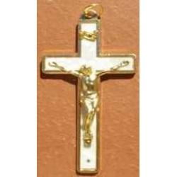 Croix du Christ nacrée blanche