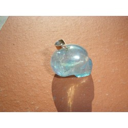 Pendentif mini-crâne en aqua aura