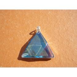 Pendentif Triangle en aqua aura