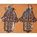 Boucles d'oreille la Main de Fatima couleur argentée